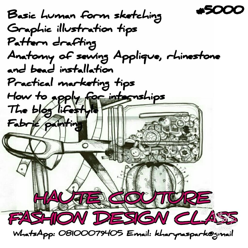 Haute Couture Fashion Design Class Lagos Kharyna 7th Avenue